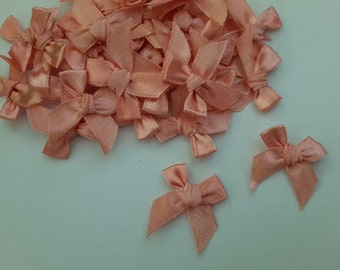 100 mini Satin Ribbon Bow Applique Embellishments Bows - Coral Pink Color