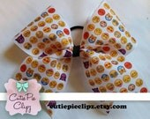 Smiley Emoji Grosgrain stiffened Cheer Bow