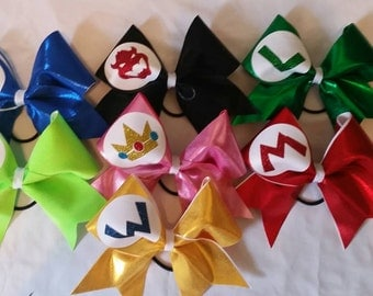Mario Bros Family cheer bows
