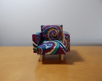 Miniature 1/12 Scale Colorful Paisly Modern Chair