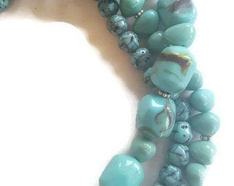 Faux Turquoise Triple Strand Beaded Necklace