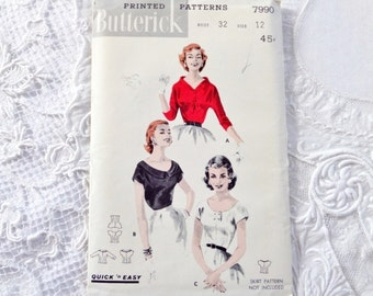 Vintage Butterick Blouse Pattern 7990 Size 12 1950s