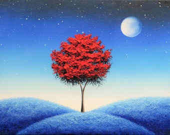Whimsical Art Print of Blue Night Dreamscape, Full Moon Art, Red Tree, Surreal Landscape, Fantasy Wall Art, Magical Nightscape Surrealism