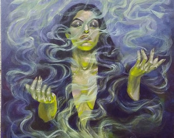 """Incense of the Seer - Original Painting, acrylic on canvas 16"""" x 20"""""""