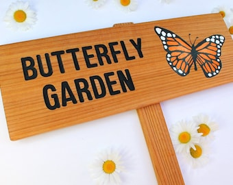 Personalized Butterfly Garden Sign, Monarch, Orange & Black, Gift for Mom