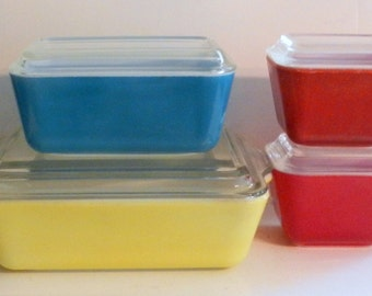 Vintage Pyrex Primary Colors Refrigerator Set, 1950s Pyrex, Collectible Set