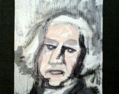 clearance sale aceo George WASHINGTON STUDY 6 original kimartist man brut folk naive modern us usa patriotic primitive pink gray black white