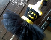 Batman Tutu Dress - Girls Superhero Costume, Superhero Tutu Dress, Bat Girl, Black & Yellow, Black Dress, Toddler Costume, Batman Robin