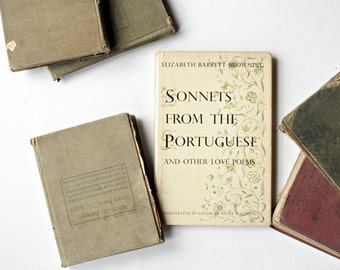 Vintage 1950's Poetry Book - Sonnets From the Portuguese by Elizabeth Barrett Browning, Gifts for Her, Wedding Anniversary Gifts, Love Poems