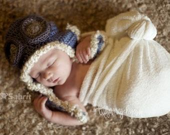 PATTERN Instant Download Pilot Hat Newborn baby Shower Gift Crochet Beanie Photo Prop