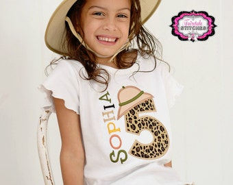 Safari Applique Tshirt with Number and Name, Safari Shirt, Safari Birthday, Safari Number, Zoo Birthday