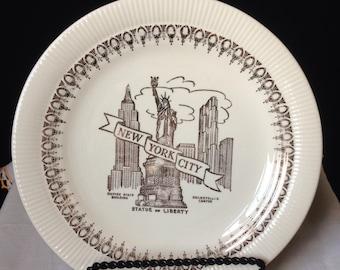 Vintage Ney York City - Decirative Souvenir Plate - 22 K Gold - statue of liberty Empire State building Rockefeller Center