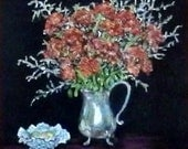 "Fine art 6X6 original still life oil painting ""Sedum & Silver"""