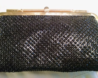 Vintage   Black Shiny Mesh Clutch Bag, Evening Purse