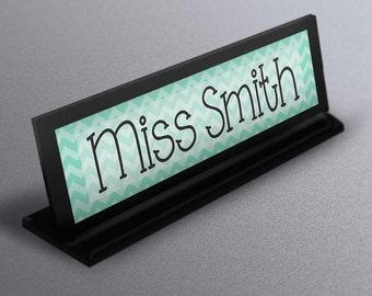 Name Plate, name plate, teacher gifts,  Classroom decor teacher name, Custom Business Desk Name Sign turquoise chevron