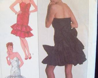 Vintage 1980s Princess Seam, Tiered Ruffled Dress Pattern Simplicity Pattern 8309 Size 12