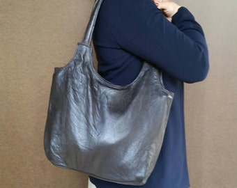 Dark Brown Leather Purse, Vintage Style Leather Bag, Everyday Shoulder Handbag, Handmade Tote bony2