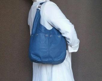 Women leather purse - slouchy hobo bag - casual shoulder handbag - blue handmade handbag kiara