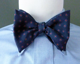 RARE Vintage 1960s Brooks Brothers All Silk Colorful Orange Dots on Navy Blue Foulard Pattern Trad / Ivy League Adjustable Self Tie Bow Tie.