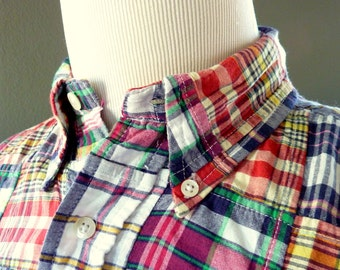 Vintage Brooks Brothers 100% Cotton Indian PATCH Madras Plaid Trad / Ivy League Casual Shirt M.  Made in India.