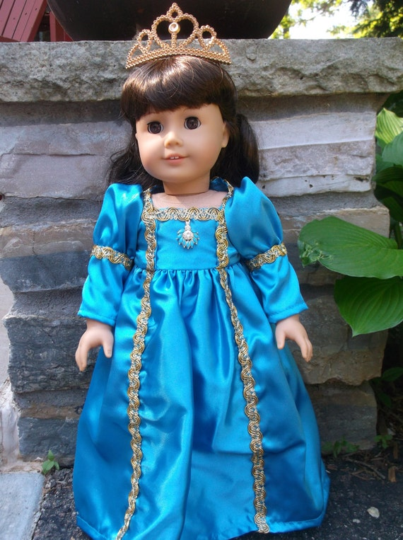 18 Inch doll aqua  princess dress and tiara by Project Funway on Etsy