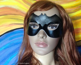 Batgirl mask with Bat symbol. Handmade in USA