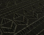 Heavy Textured Silver & Black Jacquard Woven Fabric - With geometric zig zag chevron lurex metallic yarn detail - Sold by the metre