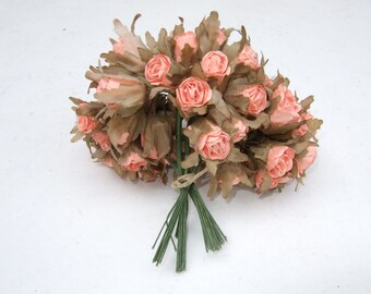 Vintage French paper flowers rose buds. old new stock.