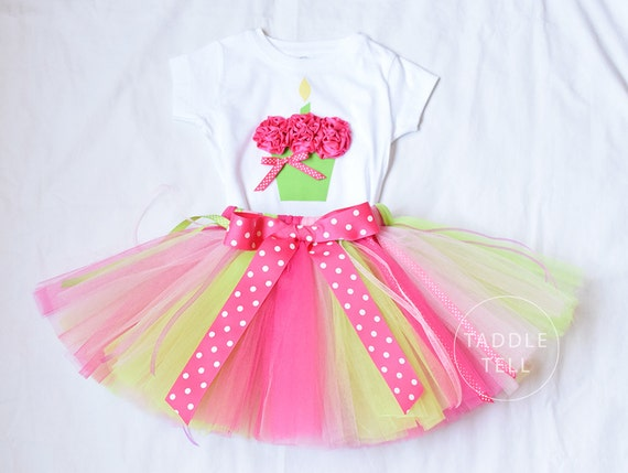 Sale - PINK MOD MONKEY Birthday Girl Set - 3d Cupcake Onesie and Tutu Skirt - 1st 2nd 3rd 4th 5th Birthday