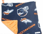 "Baby Lovey Blanket - Denver Broncos Football Lovey 15""x15"" - Ready to Ship"
