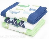 Baby Burp Cloths - Navy and Green Preppy Alligators Burp Cloth Set of 3 - READY TO SHIP