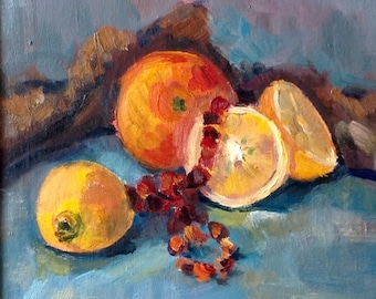Oil painting with oranges. Original one-of-a-kind oil painting. Ready to ship.