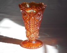 Circa 1960's Imperial Glass #536 Octagon Lace Variant Flared Footed Vase Marigold Carnival aka Rubigold Hobstar Scalloped Sawtooth Rim - M