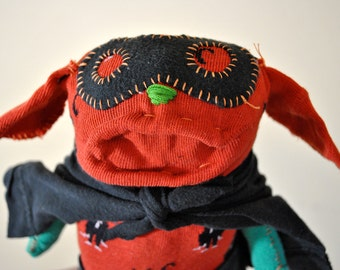Superhero Sock Animal with Black Cats, Hand-Stitched, Made from all Reclaimed Clothing, Hipster Toy, Sustainable Gift, OOAK, Stuffed Pupppy