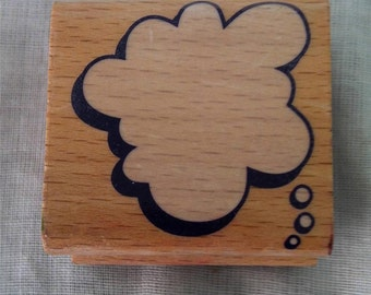 """Rubber Stamp Wood Mounted Bubble Cloud Thought Caption 1.5"""" Inches Good Used / Ink stains"""