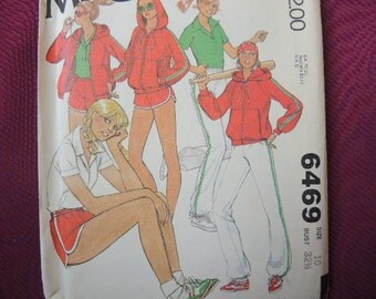 vintage 1970s McCalls sewing pattern 6469 misses activewear jacket, top pants and shorts size 10 UNCUT