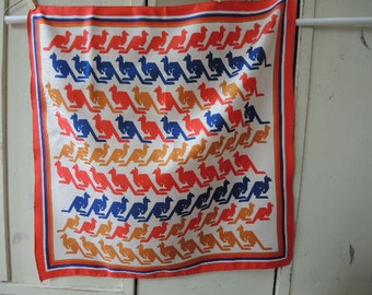 Vintage scarf with stylized kangaroos blue red and gold 20 x 20 inches
