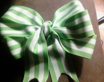 Big Green and White Striped Bow