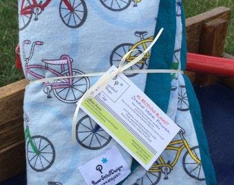 Gender Neutral Bicycles Flannel single layer receiving blanket.