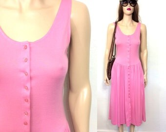 Vintage Bubblegum Pink 90s Dress Drop Waist Dress Tank Dress Soft Cotton Summer Dress Preppy Style 80s 90s Clothing Small Grunge Hipster