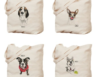Custom pet portrait tote bag. Custom dog portrait. Dog portrait cotton bag.Personalized gift .Gift for pet owners