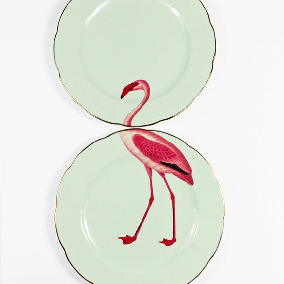 Darling flamingo plate set