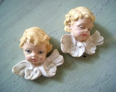 RESERVED Vintage 1980's Hand Painted Signed Scioto Cermics Cherub Angel Face Wall Hangings Nursery Decor