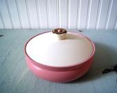 Vintage 1950's Avon Cotillion Powder Container Box Pink Ivory Gold Trinkets Beauty Storage Organization