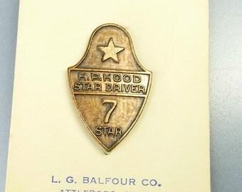 Vintage HP Hood Dairy Award Service Pin 7 Year Driver Original Card