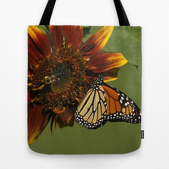 Monarch on Sunflower Photo Tote Bag, Everyday Bag, Tote Bag, Totes, Photography, Flower, Butterflies, Teacher Gift, Unique Gift, Gift Ideas
