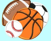 All Sports Balls Baseball, Soccer, Football and Basketball Applique Embroidery Design INSTANT DOWNLOAD