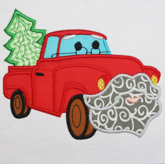 Santa Claus Red Truck Applique Embroidery by LunaEmbroidery