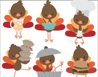 Thanksgiving Clipart Turkeys in the Kitchen -Personal and Limited Commercial Use- Cute Turkey Clipart