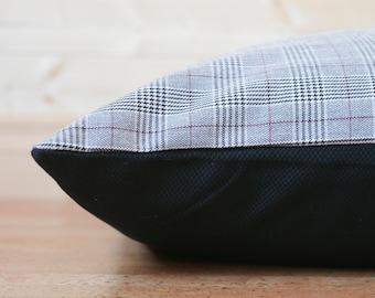 Designer Dog Bed Cover - Grey & Red Plaid Pet Bed